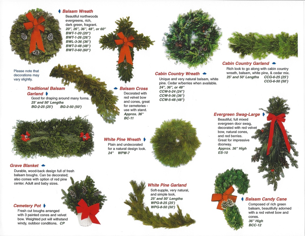 current christmas wreath and evergreen wholesale sheet